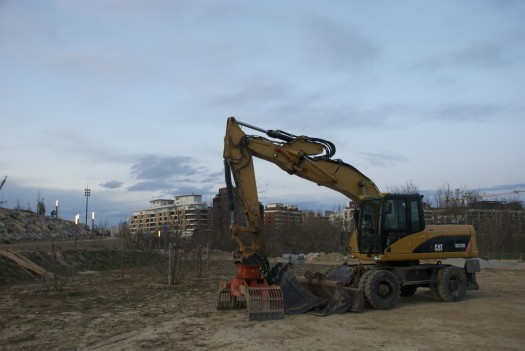 Engin de chantier, Montpellier (28 janvier 2012)
