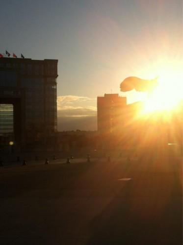 Lever de soleil sur l'Esplanade de l'Europe, Montpellier (30 janvier 2012)