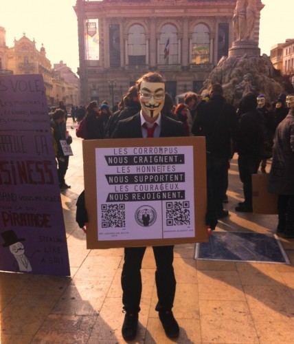 Un Anonymous, Montpellier (11 février 2012)