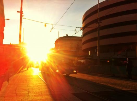 Soleil levant sur le Jeu de Paume, Montpellier (1er février 2012)