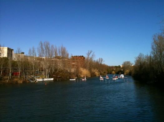 A la voile sur le Lez, Montpellier (28 février 2012)