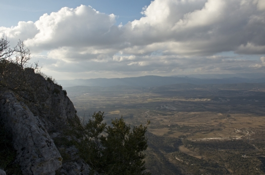 L'arrière pays Montpelliérain vu depuis le Pic St Loup, Cazevieille (17 février 2013)