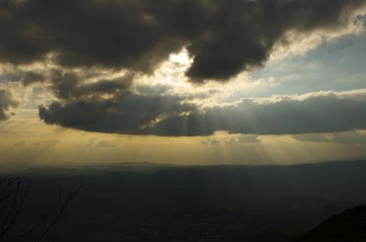 Le soleil couchant depuis le Pic St Loup, Cazevieille (17 février 2013)