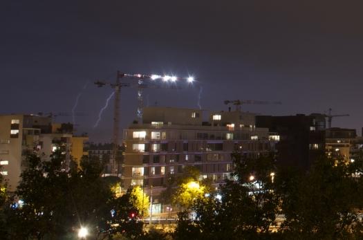 Orage à Port Marianne, Montpellier (4 octobre 2013)