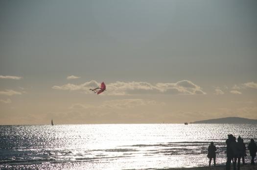 Cerf-volant sur la plage du Petit Travers, Carnon (3 février 2014)